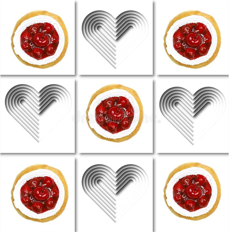Cherry jam donut illustration. A square pattern made of images of cherry jam donut and white papercut hearts on white background. Illustration art royalty free illustration