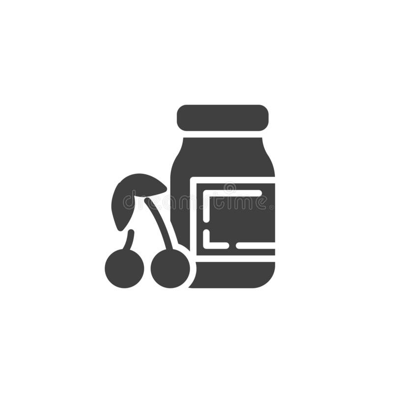 Cherry jam jar vector icon. Filled flat sign for mobile concept and web design. Jar and cherry glyph icon. Symbol, logo illustration. Vector graphics stock illustration