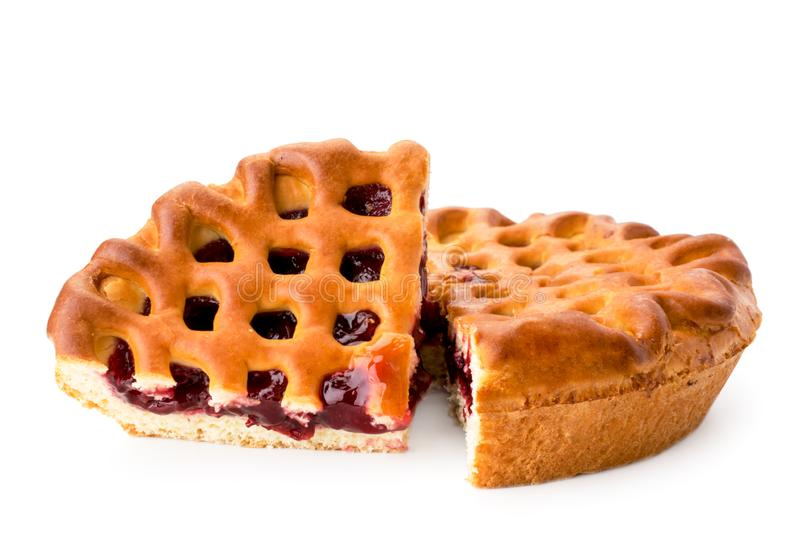 Cherry jam pie close-up on a white. Isolated. stock images