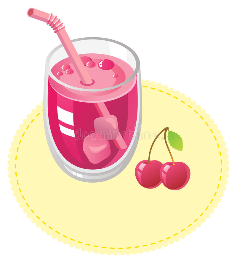 Download Cherry juice stock vector. Image of yellow, object, straw - 11796800
