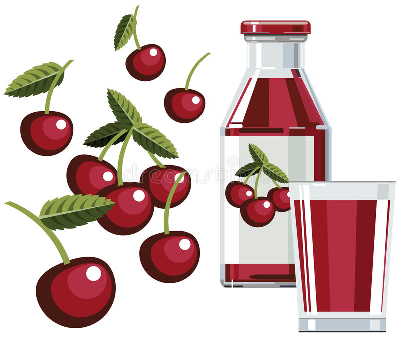 Download Cherry Juice With Bottle And Glass Stock Vector - Illustration: 11415505