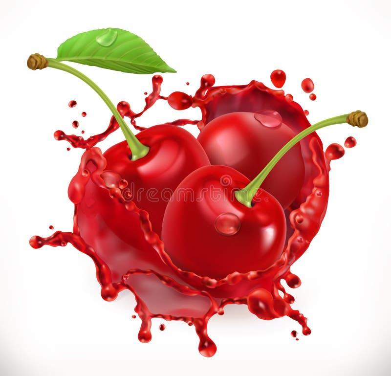 Cherry Juice Frutta fresca, icona di vettore illustrazione vettoriale