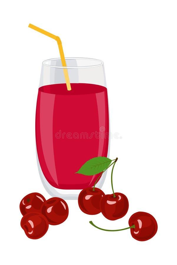 Cherry Juice Un verre de jus et de cerises de cerise Illustration de vecteur sur le fond blanc illustration de vecteur