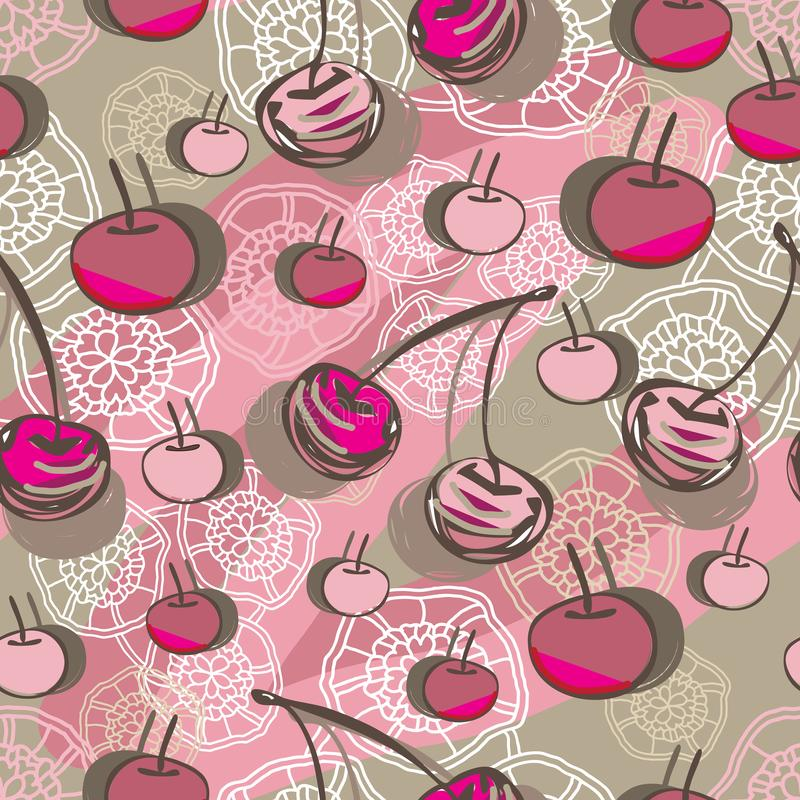 Cherry and Lace-Fruit Delight seamless Repeat Pattern illustration.Background in pink,maroon, brown and cream. vector illustration