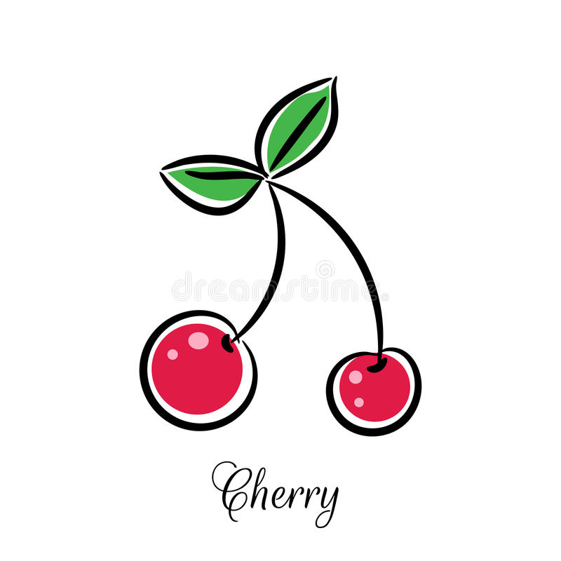 Cherry line doodle vector icon. royalty free illustration