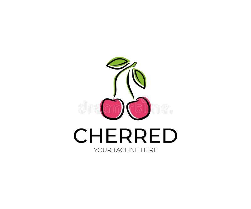 Cherry Logo Template Fruktvektordesign Fruitageillustration stock illustrationer