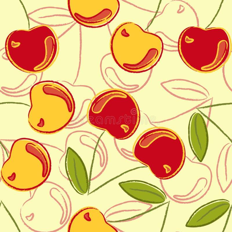 Cherry mönsan seamless vektor illustrationer