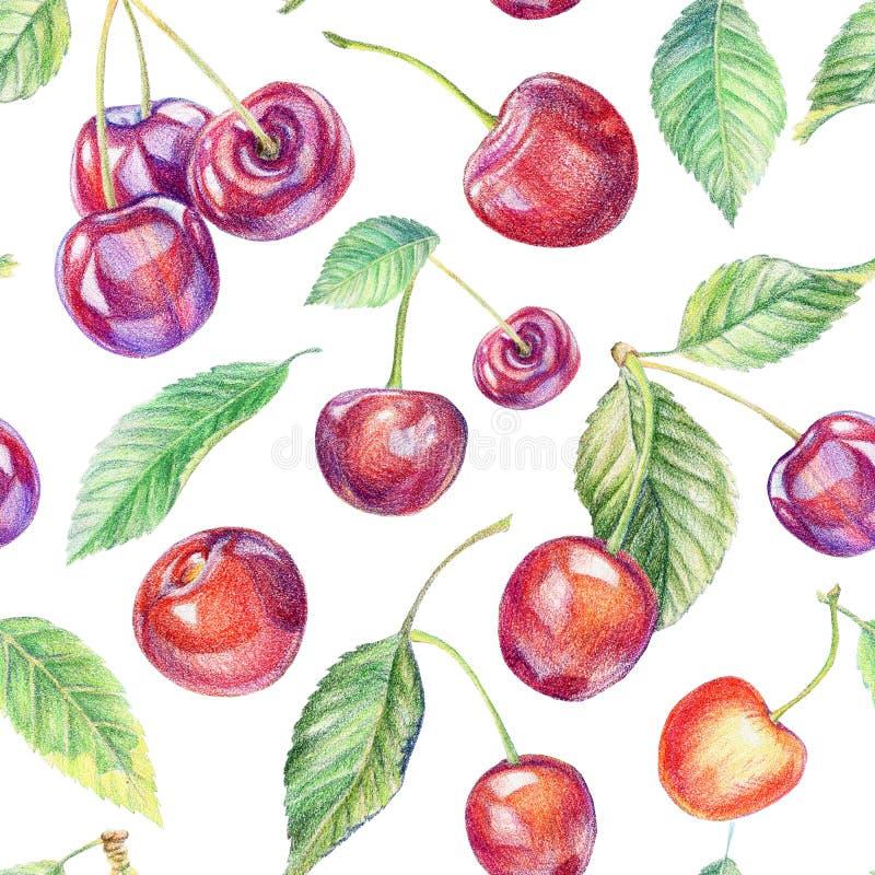 Cherry mönsan seamless Dra med kulöra blyertspennor vektor illustrationer