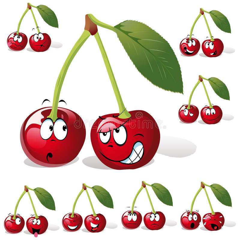 Cherry With Many Expressions Stock Photo