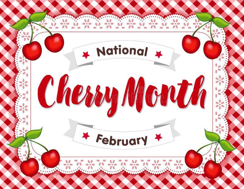 Cherry Month, Doily van het Oogjekant Onderleggertje, Rode Gingang stock illustratie