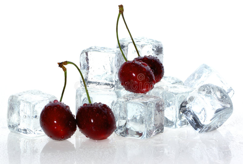 Download Cherry over ice cubes. stock photo. Image of dessert, chilled - 2683196