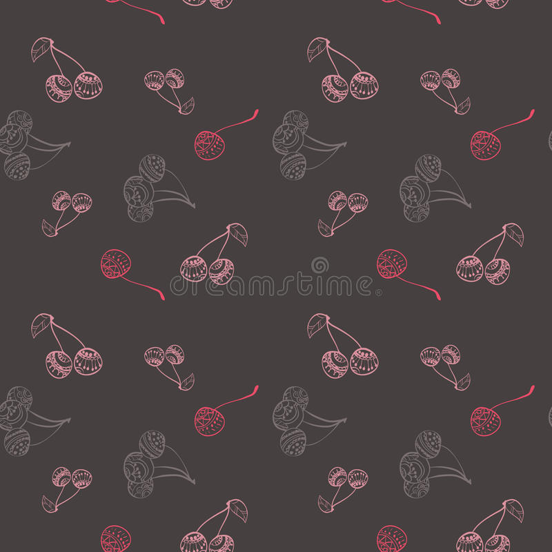 Cherry pattern drawing style royalty free stock photo