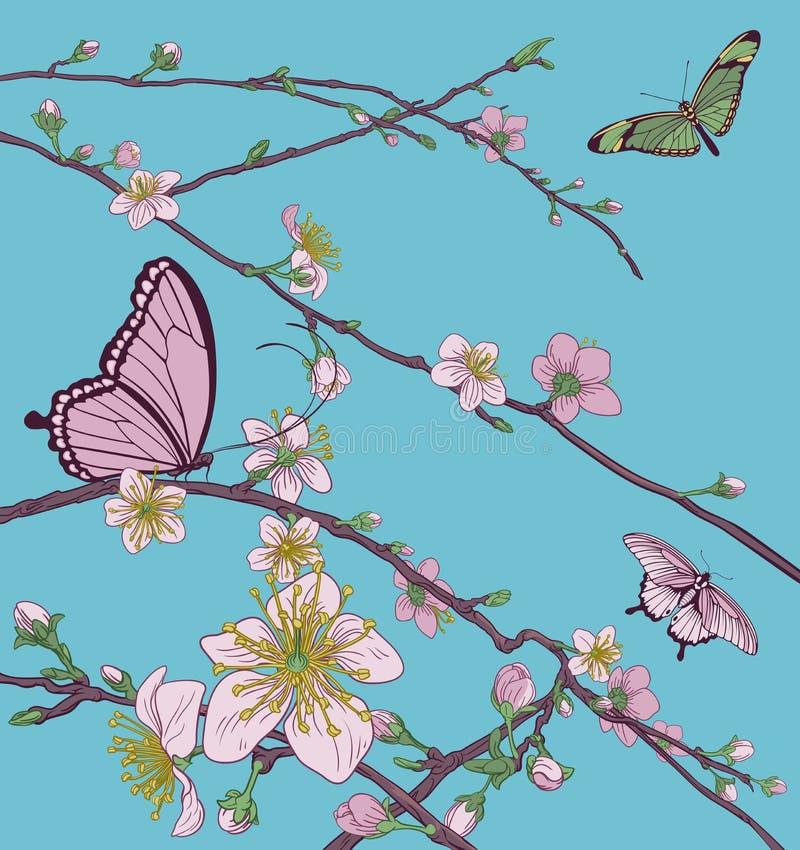 Cherry Peach Blossom Tree Flowers et papillons illustration stock