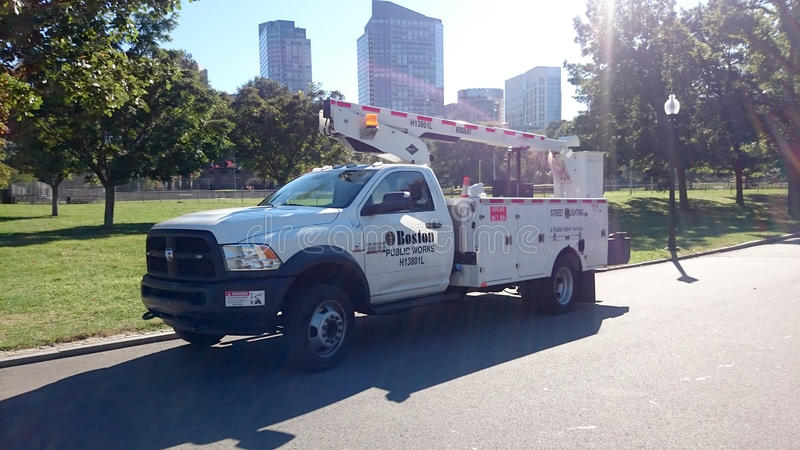 Cherry Picker Pick-up Truck stock image