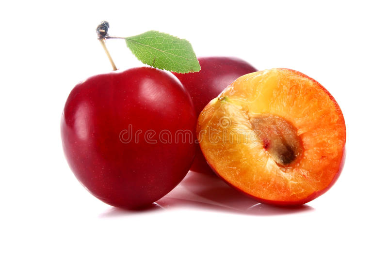 Cherry-plum. Isolated on white background royalty free stock photo