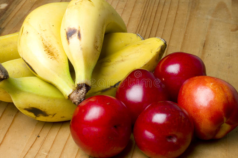 Cherry Plums, Nectarines And Bananas Royalty Free Stock Photos