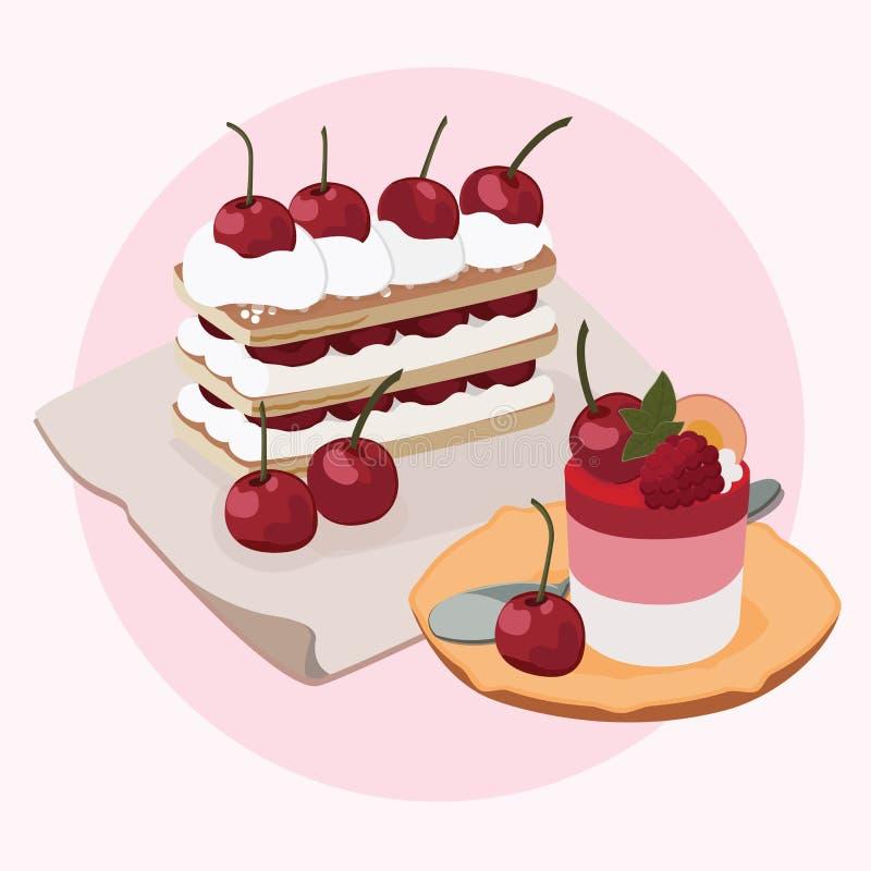 Cherry Puff Pastry Tart and Cherry Vanilla Pudding vector illustration