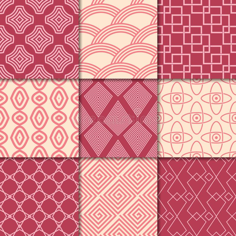 Cherry red and beige geometric ornaments. Collection of seamless patterns vector illustration