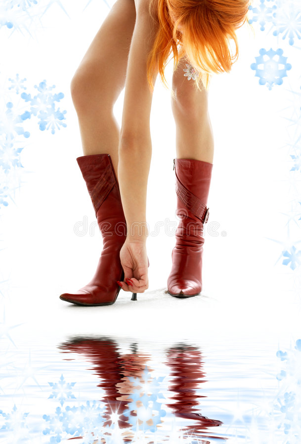 Download Cherry red boots stock photo. Image of hair, curves, adult - 7110792