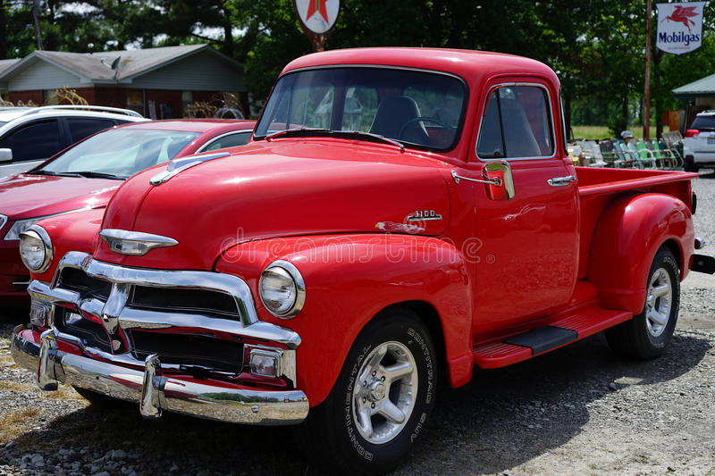 Cherry Red 1950 Chevrolet Truck Editorial Photo - Image of ...
