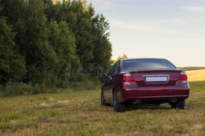 Cherry red 4 door family d-class sedan Toyota Camry. Fifth generation xv30 2001-2006 standing on a green field and forest on a background at the summer with led stock photos