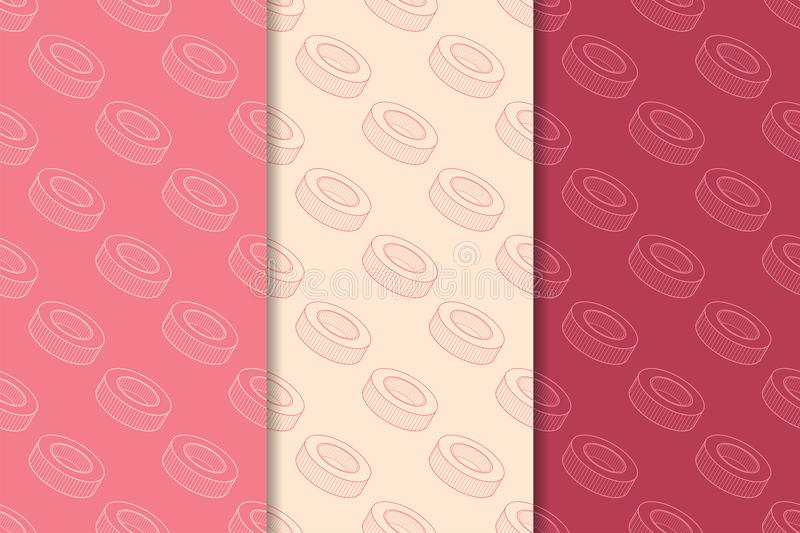 Cherry red geometric ornaments. Set of seamless patterns royalty free illustration