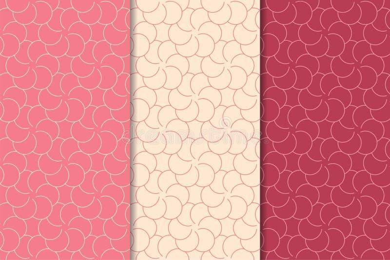 Cherry red geometric ornaments. Set of seamless patterns stock illustration