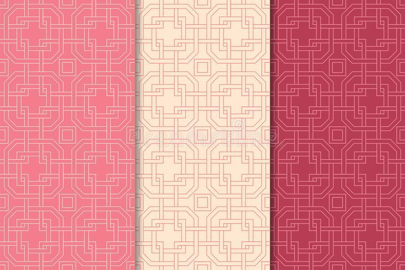 Cherry red geometric ornaments. Set of seamless patterns vector illustration