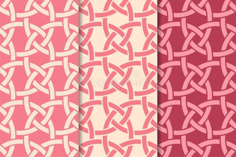 Cherry red geometric prints. Set of seamless patterns royalty free illustration