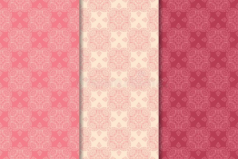 Cherry red geometric set of seamless patterns royalty free illustration