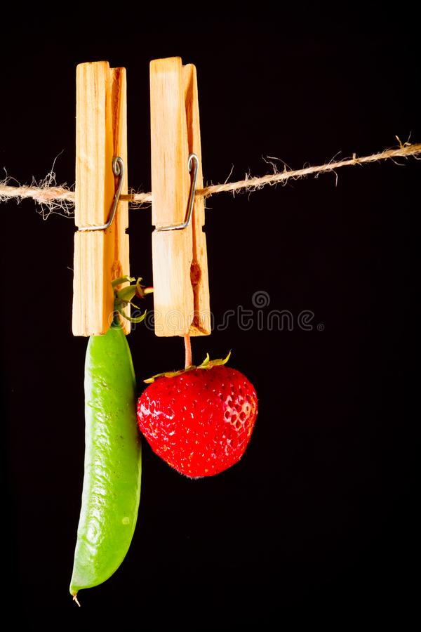 Cherry and rope on black with clamp royalty free stock photo