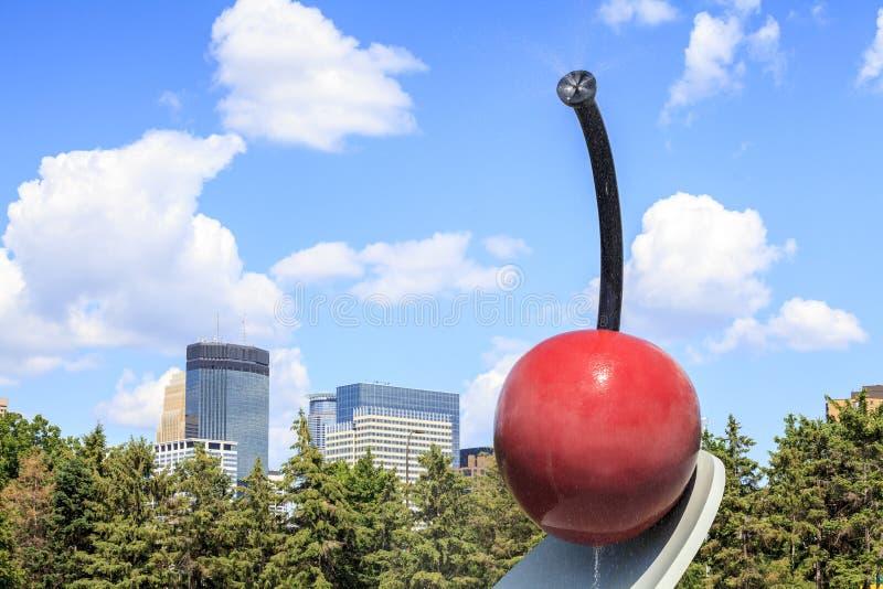 Cherry sculpture in Minneapolis garden, Minnesota. stock photography