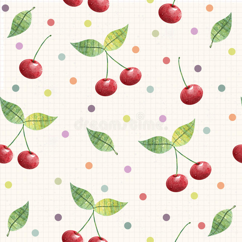 Cherry seamless pattern. background, pattern, fabric design, wrapping paper, cover vector illustration