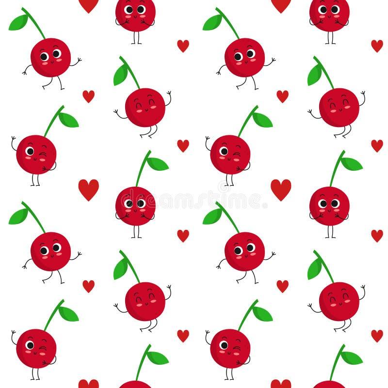 Cherry, seamless pattern stock image