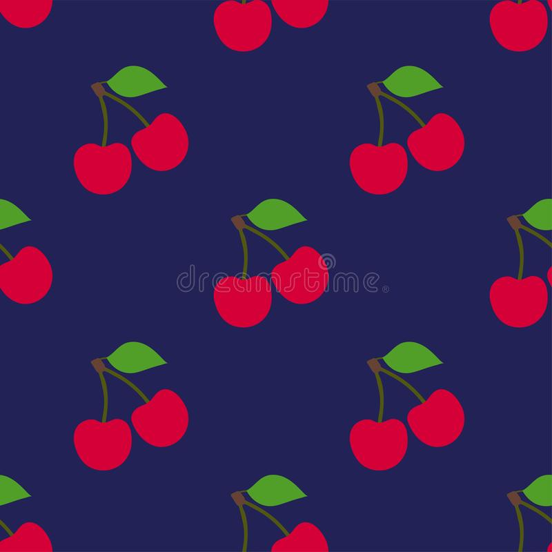 Cherry seamless pattern. Red berry. Fashion design. Food print for kitchen tablecloth, curtain or dishcloth. Hand drawn doodle vector illustration