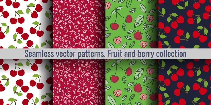 Cherry seamless pattern set. Red berry. Fashion design. Food print for kitchen tablecloth, curtain or dishcloth. Hand drawn doodle stock illustration