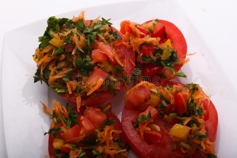 Delicious tomato salad royalty free stock photo