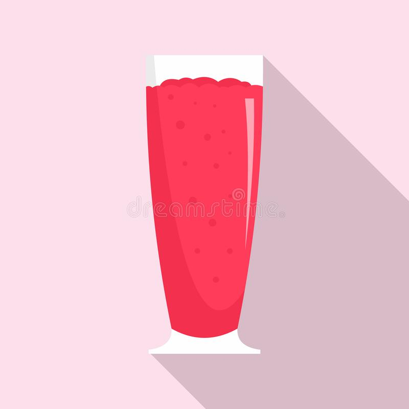 Cherry smoothie icon, flat style stock illustration