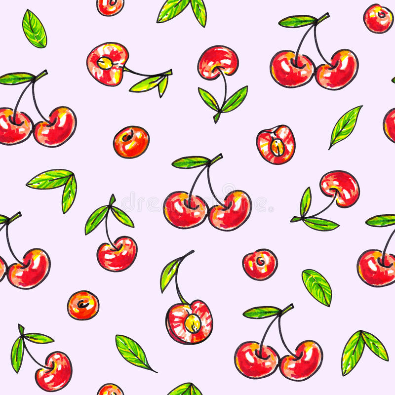 Cherry sweet on a pink background. Seamless pattern for design. Animation illustrations. Handwork vector illustration