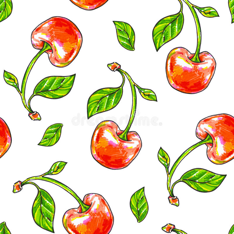 Cherry sweet on a white background. Seamless pattern for design. Animation illustrations. Handwork stock illustration