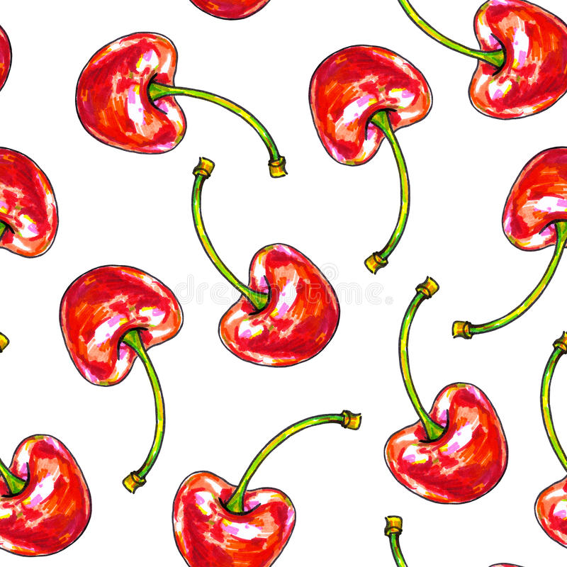 Cherry sweet on a white background. Seamless pattern for design. Animation illustrations. Handwork royalty free illustration