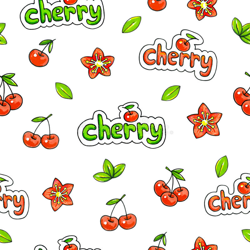 Cherry sweet on a white background. Seamless pattern for design. Animation illustrations. Handwork vector illustration