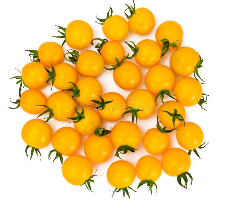 Cherry Tomato giallo fresco sul fondo di Whyite fotografie stock libere da diritti