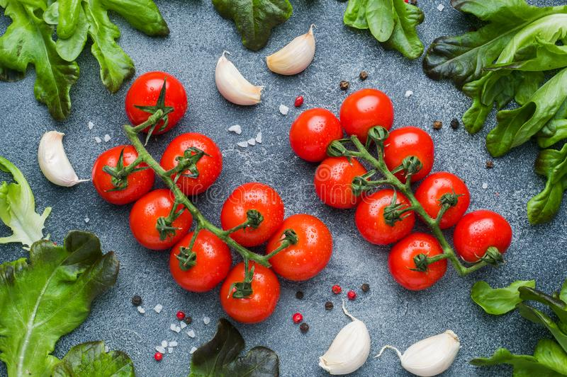 Cherry tomatoes on a branch Fresh herbs and garlic clove with spices on a dark stone table royalty free stock image