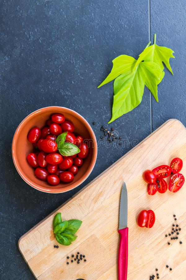 Cherry, Tomatoes, Chopping royalty free stock photography
