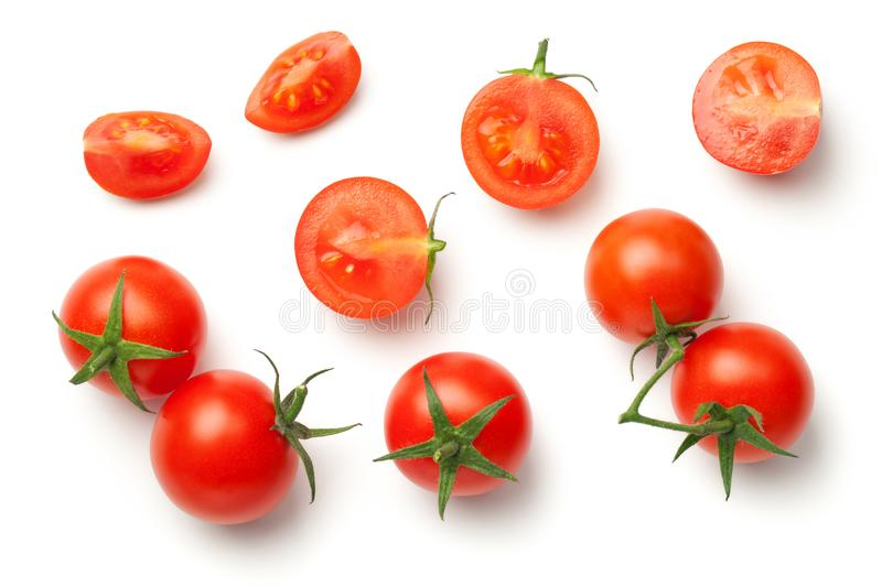Cherry Tomatoes Isolated on White Background stock photo