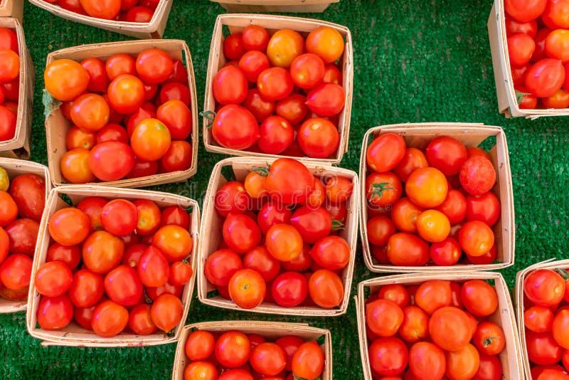 Cherry Tomatoes para a venda em um mercado local dos fazendeiros fotografia de stock royalty free