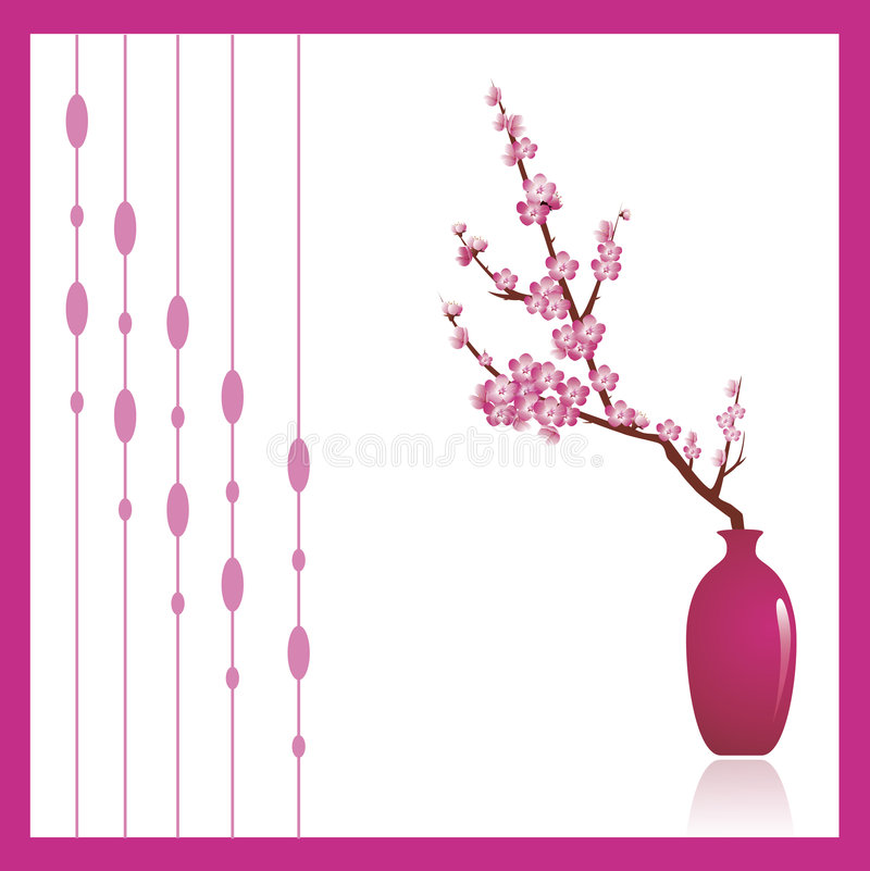 Cherry tree. Blossoms, a beautiful spring flower in a pink against white background. Decorative ornament to the left can be turned off to make copy space