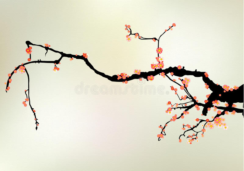 Download Cherry tree blossom stock illustration. Illustration of chinese - 14071111