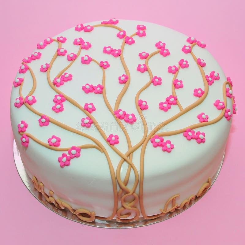 Cherry tree flowers cake stock images